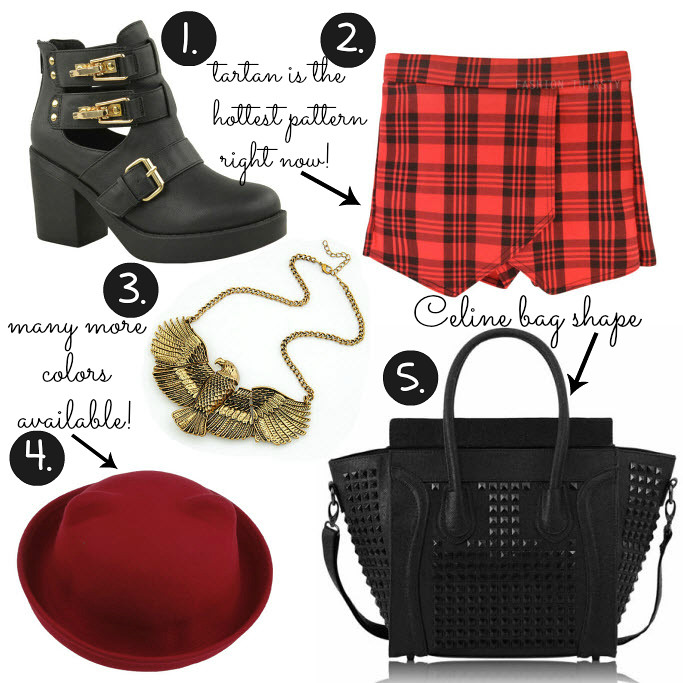Cheap Friday- Ebay bargains #14. Maddie's guide on Ebay clothing, shoes and accessories. This weeks Ebay bargains include items like tartan pattern culottes skort, gold bronze eagle necklace, celine bag replica look a like studded tote bag, cat ear bowler hat, ankle boots with buckles and cutouts