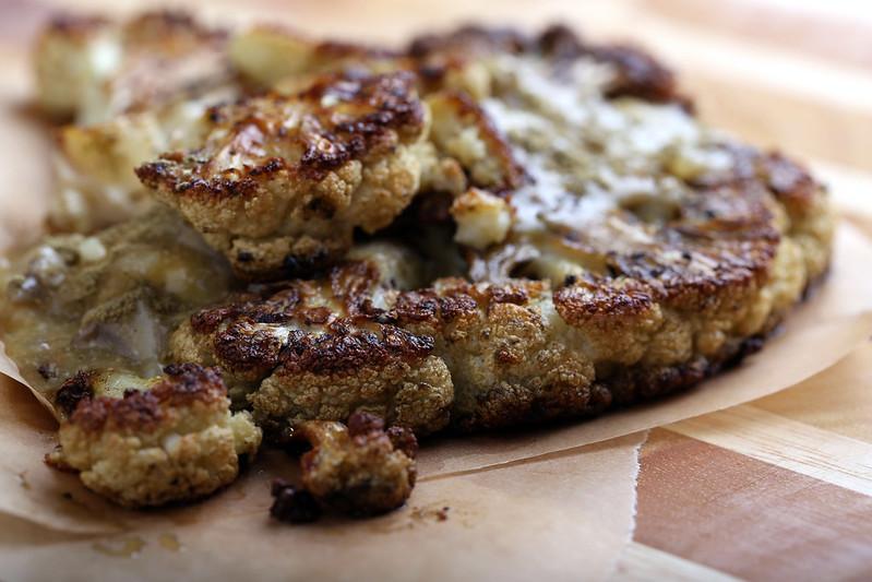 Roasted Cauliflower Steaks with Oyster Mushroom Gravy