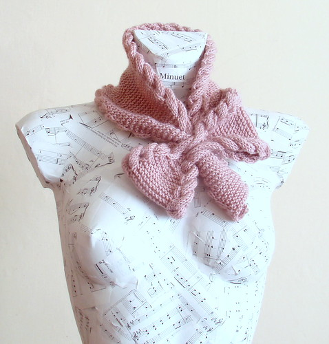Hand knitted bow neck warmer, scarf