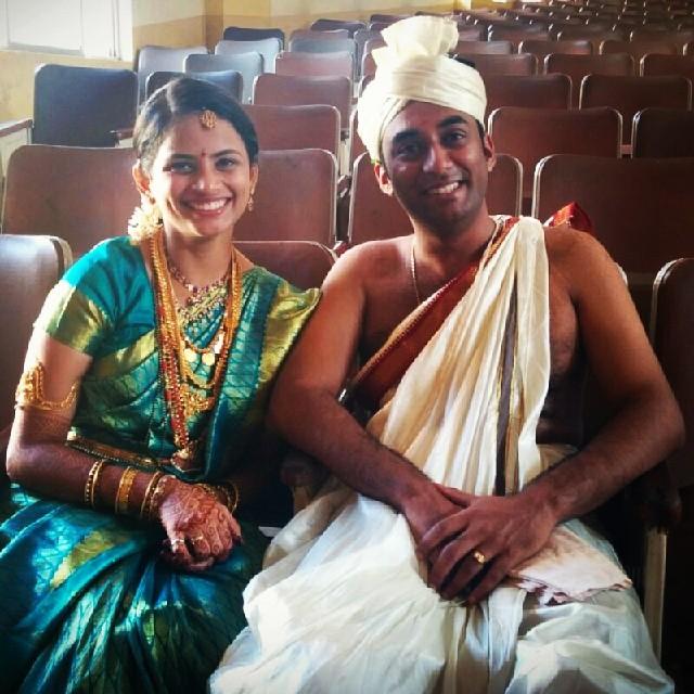 Wifey @joshenoy and me, during today's Satyanarayan Pooja