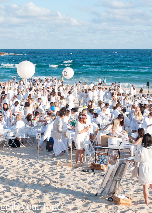 Sea of white at Diner en Blanc Sydney 2013 Bondi Beach