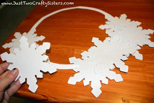 Making a crafty snowflake wreath