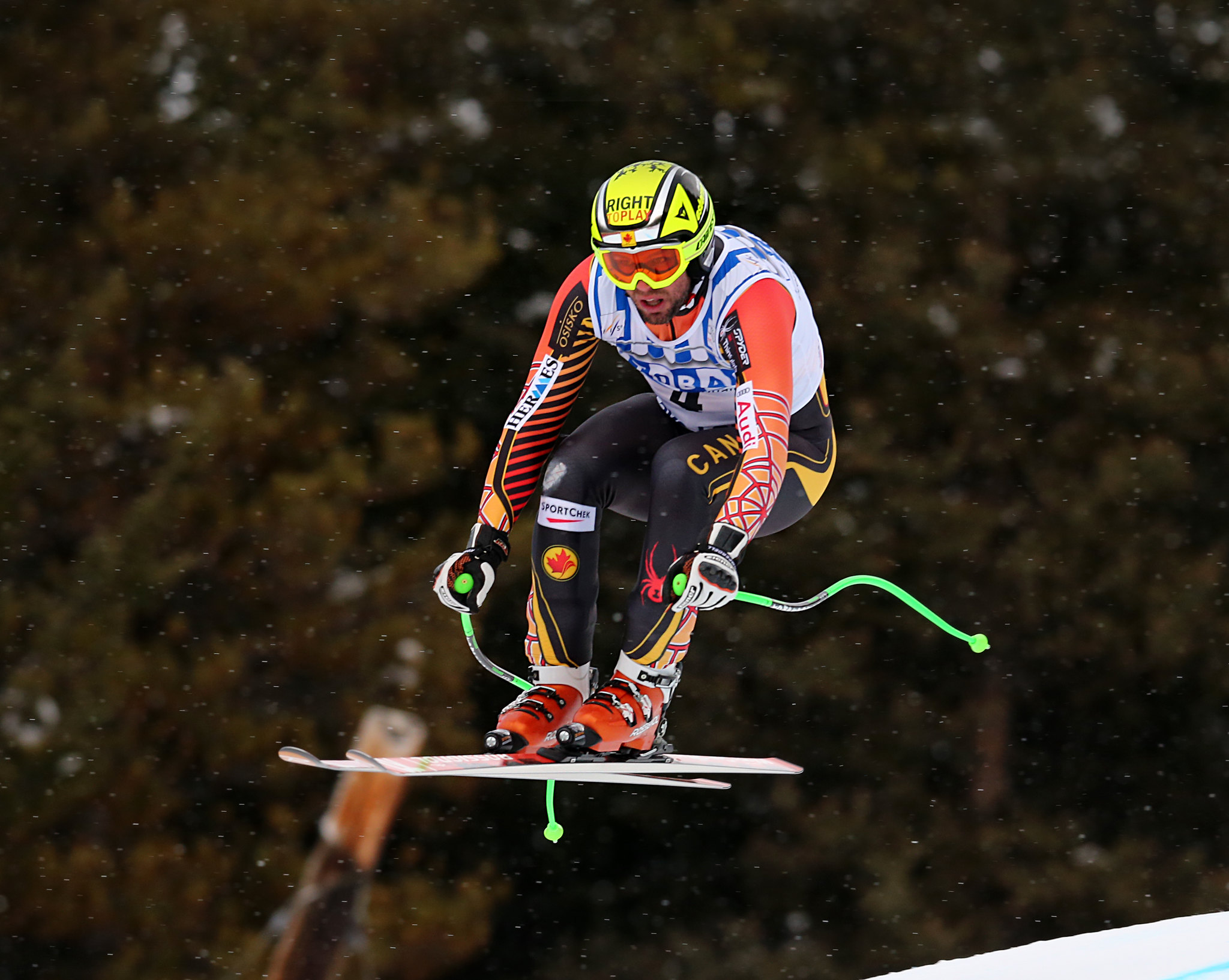 Manny in action during the downhill at the FIS Alpine World Cup in Lake Louise, CAN