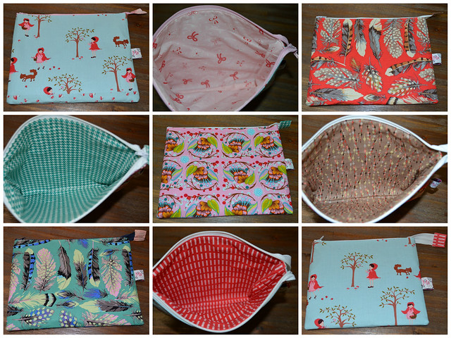 Noodlehead Zippered Pouches - without the flat bottom!