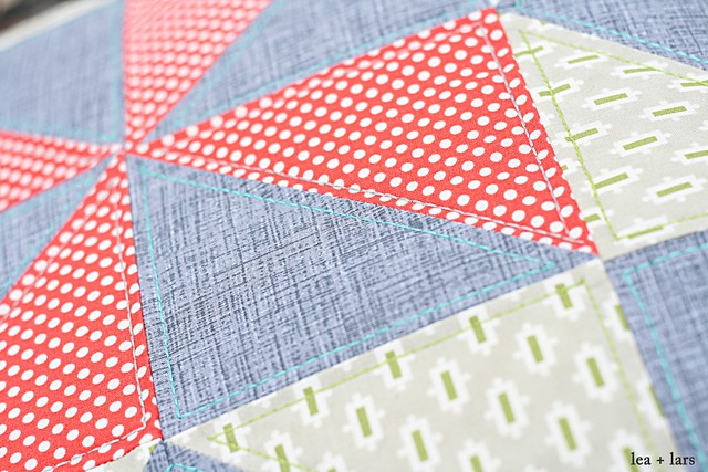 Christmas pillow Aurifil stitching