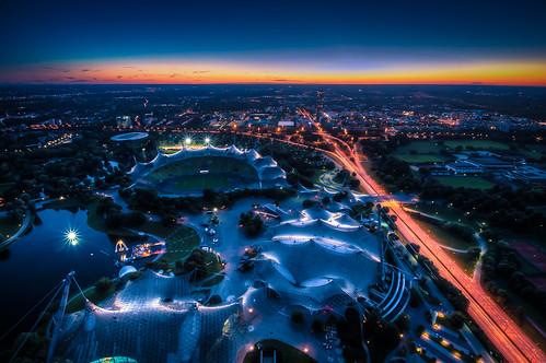 park sunset munich nightshot olympia olympic 1972 olympiapark georgbrauchlering