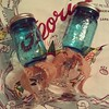 Set of vintage style blue #BallJar #RedneckWineGlass #HandMade by moi.  #KatsGoodStuff on #Etsy