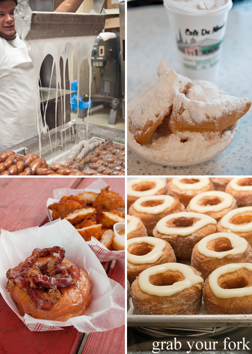 Icing donuts at The Donut Man, LA; beignet from Cafe Du Monde, New Orleans; cronuts from Dominique Ansel Bakery, NY; and bacon maple donut from Gourdough's, Austin