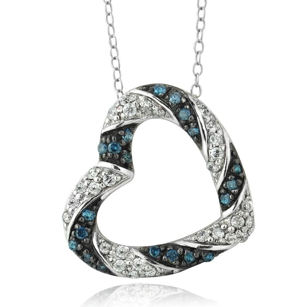 sterling silver tdw treated blue white diamond. Black Bedroom Furniture Sets. Home Design Ideas
