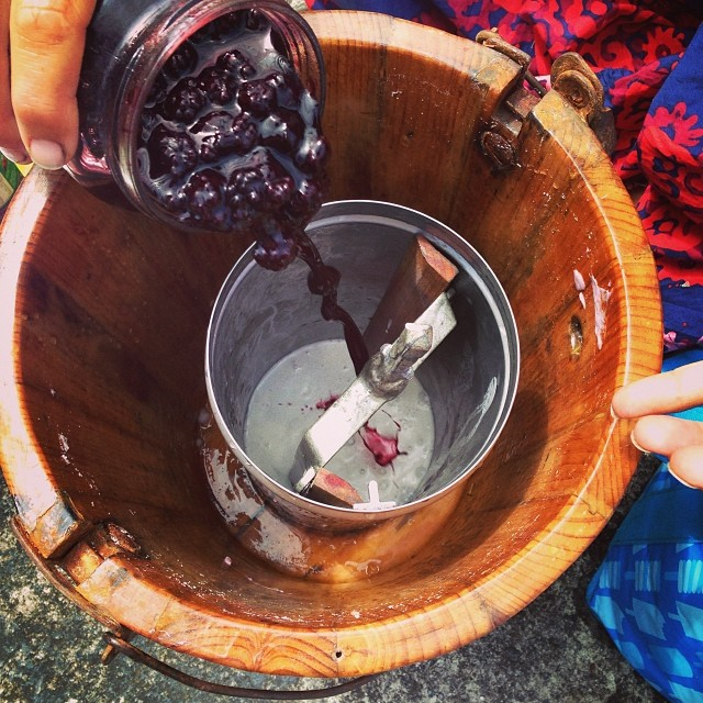 Hand-churned ice-cream at co-op yesterday, made with homegrown blueberries and kid power! #summer #village #coop