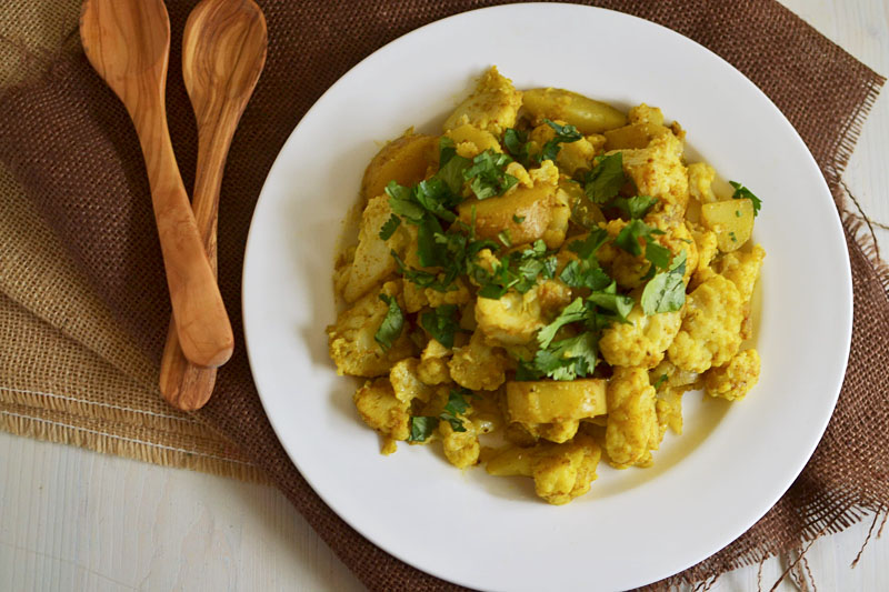 Aloo Gobi (Spiced Indian Cauliflower) via LittleFerraroKitchen.com