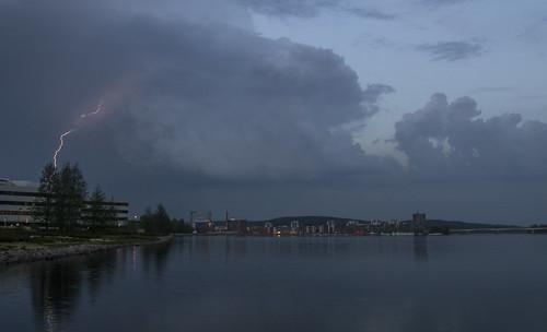 city summer lake clouds finland evening nikon lightning jyväskylä thunder d3100