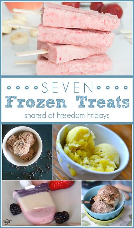 Seven Frozen Treats shared at Freedom Fridays #frozen #summer #icecream #popsicles