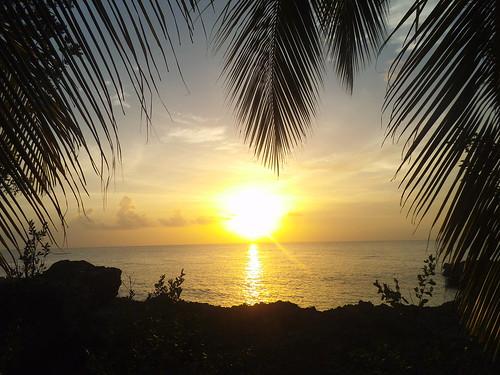 sunset sea sun beach palms san colombia andres caribian ilopsterit