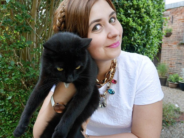 Cute Black Cat Jewel Statement Necklaces