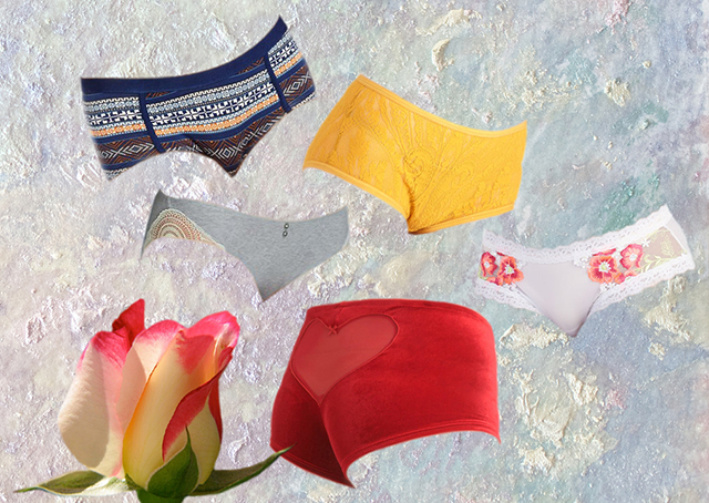 five cute panties with a rosebud