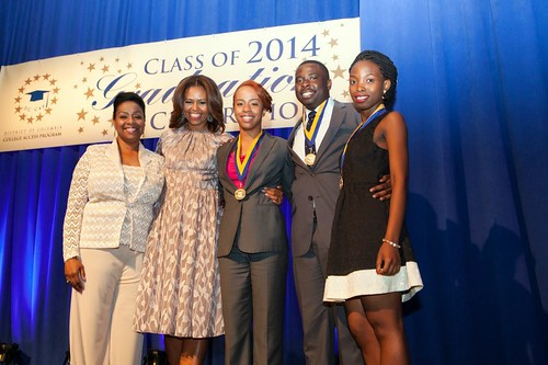 L to R  Argelia Rodriguez, President and CEO, DC College Access Program, Mrs. Michelle Obama, First Lady of the United States of America, Isiah Guinyard, DC-CAP Community Involvement and Leadership Award Winner