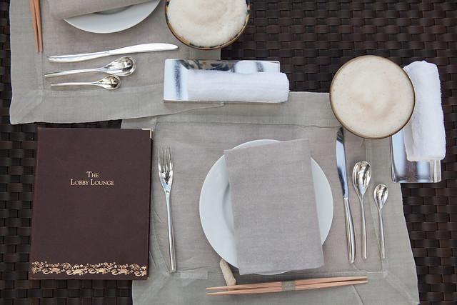 Table setting with the bowls of Buku Buku tea