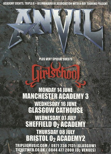 June 2010 Anvil/ Girlschool UK Tour