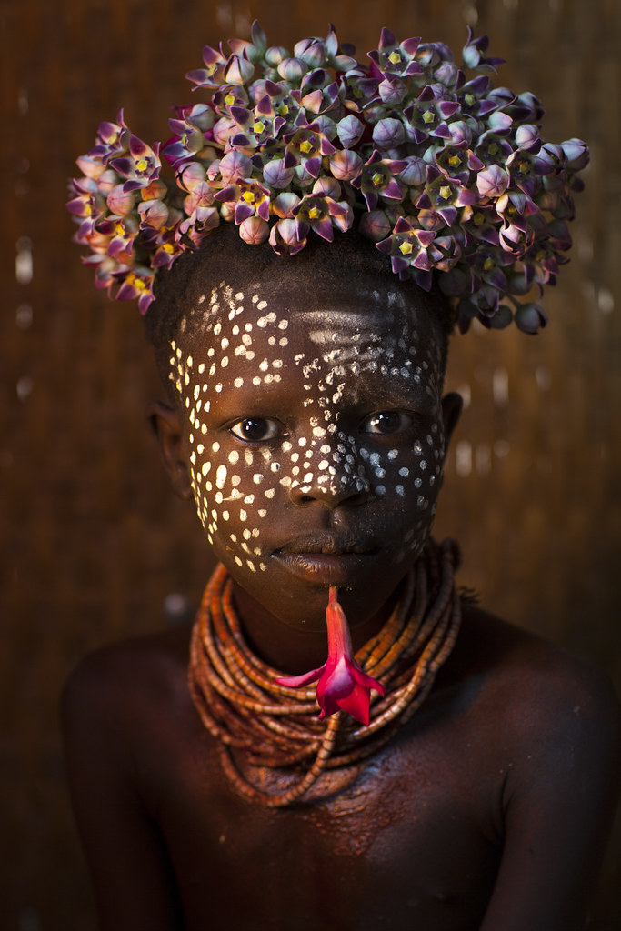 Child From Omo Tribe With Flowers Omo Korcho Ethiopia