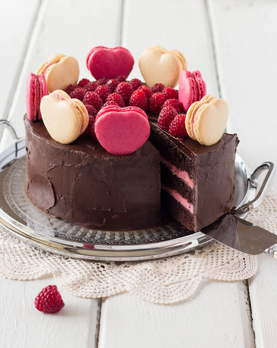 Chocolate Raspberry Layer Cake with Macarons | Flickr - Photo Sharing!