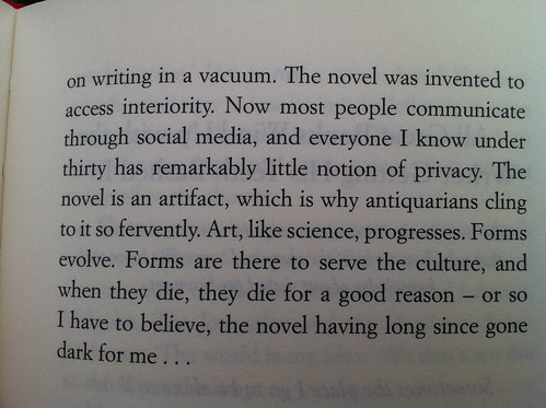 """""""the novel is an artifact, which is why antiquarians cling to it so fervently"""""""