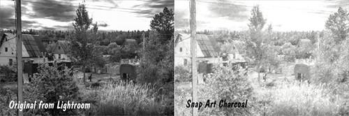 Original image and Snap Art Charcoal image