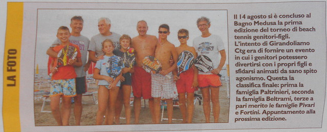 il carlino - primo trofeo Girandoliamo di beach tennis padri  e figli