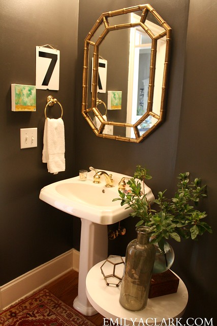 Dark gray powder room