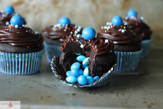 Triple Chocolate Surprise Cupcakes