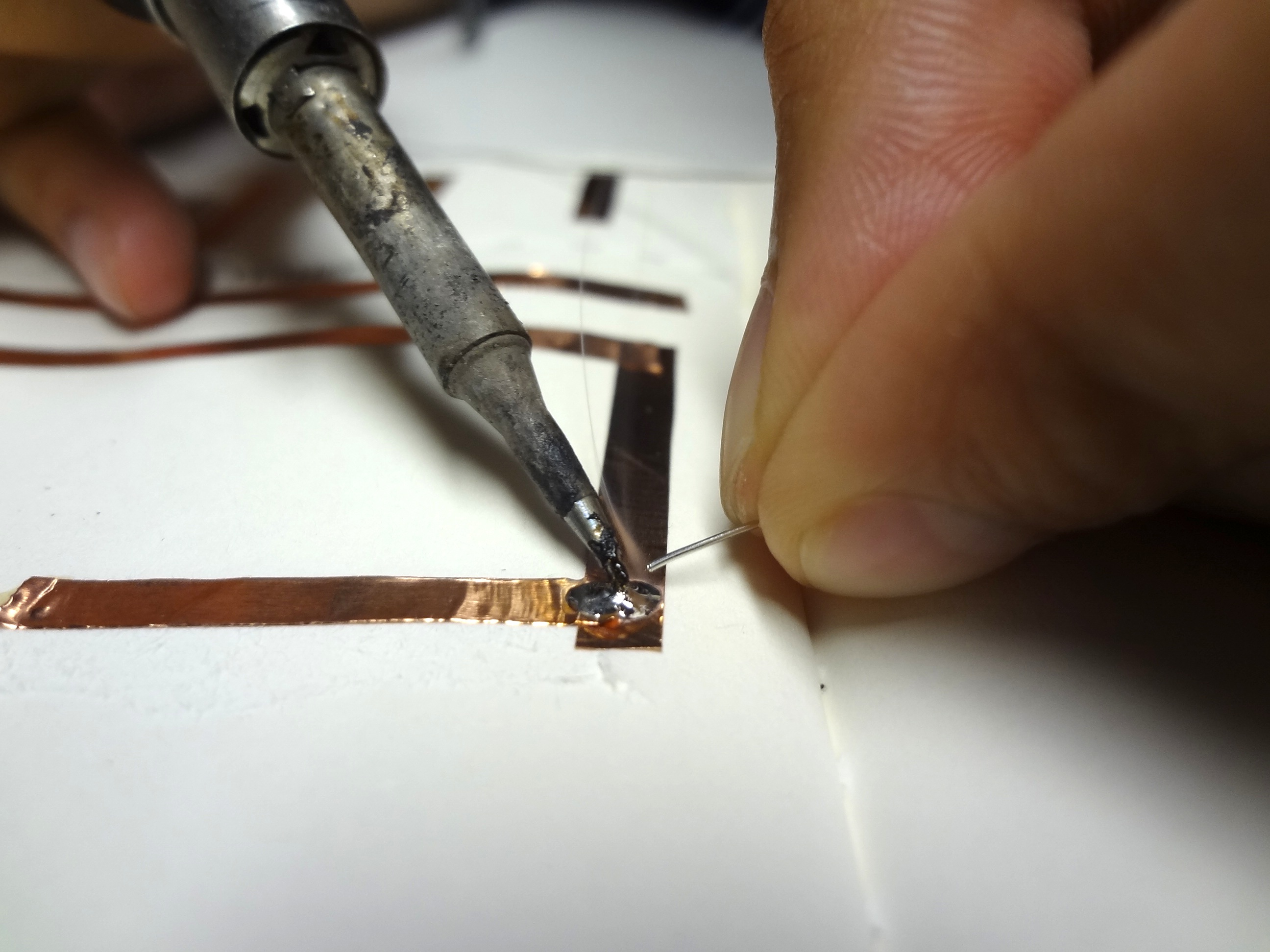 soldering copper tape connection