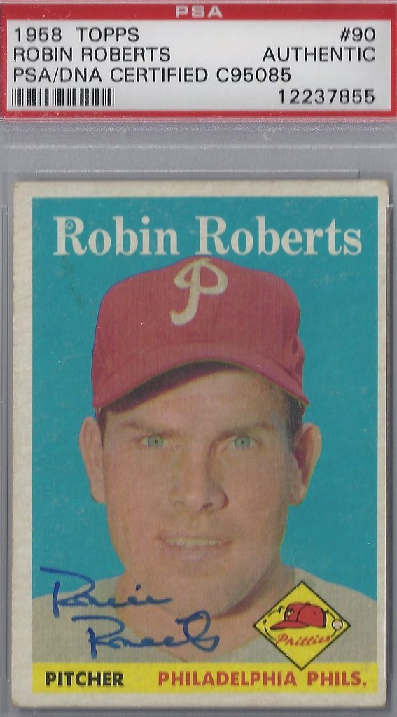 1958 Topps Robin Roberts 90 Pitcher Hall Of Fame 1976