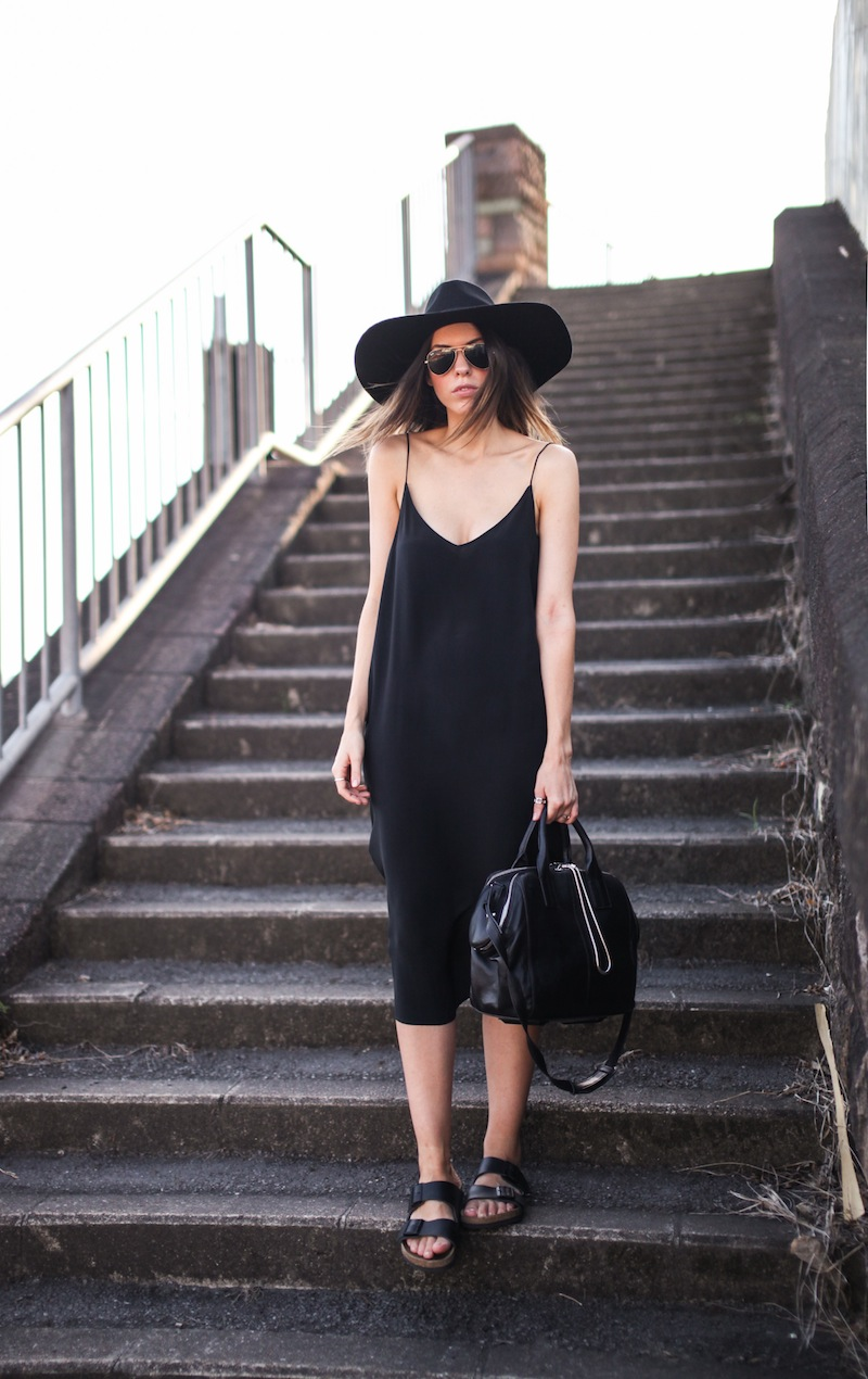 modern legacy fashion blog ysl hat wide brim topshop silk cami slip dress street style inspo details monochrome trend vera xane black white birkenstock (3 of 9)