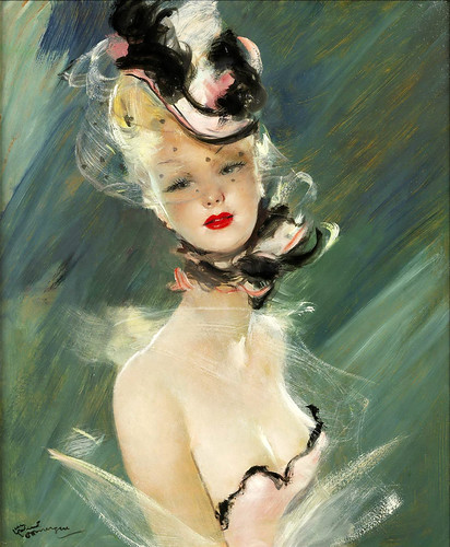 025-Dama elegante con sombrero-Jean Gabriel Domergue