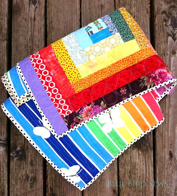 Rainbow Log Cabin Scrappy Quilt