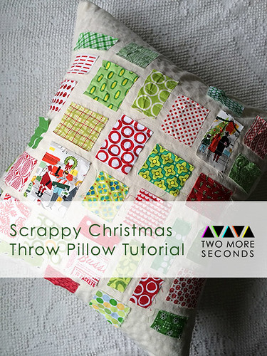 Scrappy Christmas Throw Pillow
