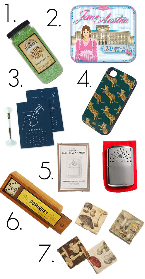 Stocking-stuffers, for-grownups, gift-guide, stocking, christmas-shopping, presents, dominoes,coasters, pocket-hand-warmer, phone-case, rifle-co., calendar, bath-salts,
