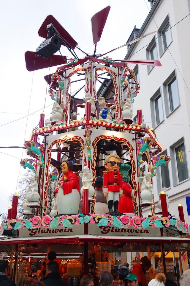 Dusseldorf Christmas market gluhwein carousel
