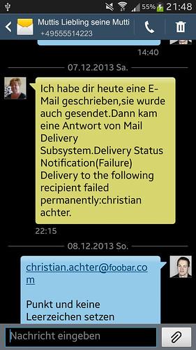 Screenshot der SMS meiner Mutter