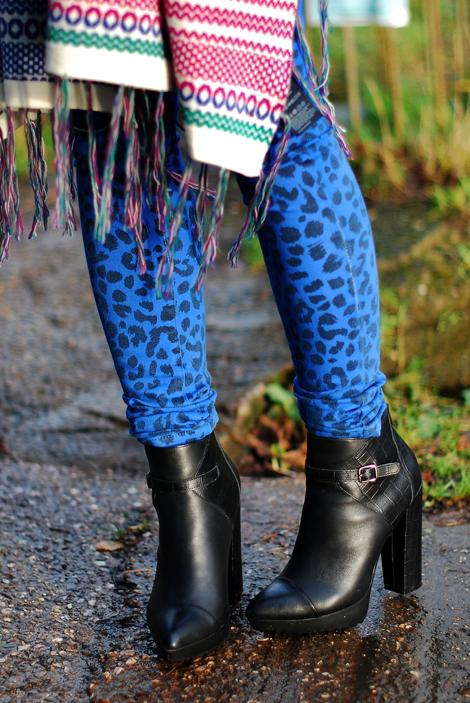 Multicoloured shawl, blue leopard print skinnies & black ankle boots