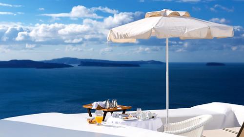 Café da manhã em Santorini