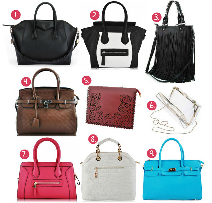 Best of ebay bargains bags featuring items like: black pu leather bag, black and white smile bag similar to the celine bag, almost a lookalike but for a cheaper price, fringe tassel bag review from ebay, birkin bag inspired tote handbag, clear transparent zara like clucth, pink leather smile bag, fake crocodile skin white tote bag, sky blue, turquoise birkin inspired handbag tote.