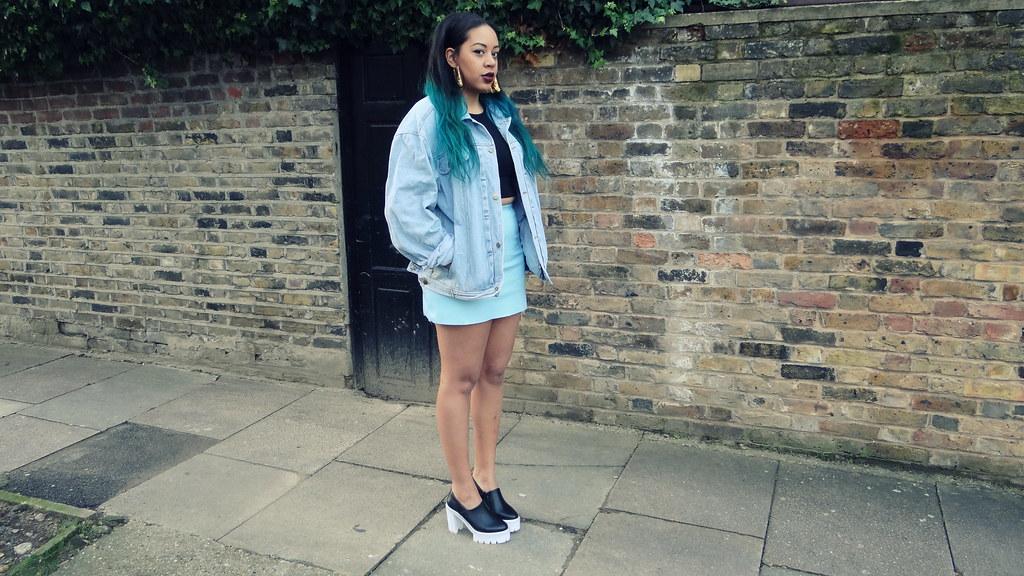 blue pvc skirt