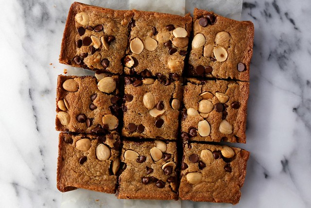 Blonde Brownies with Chocolate Chips and Marcona Almonds