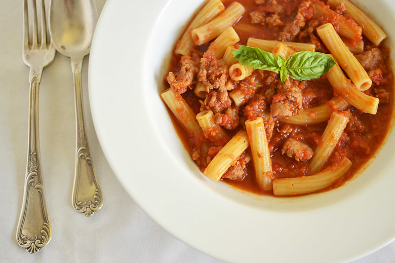 Rigatoni with Spicy Pork Ragu via LittleFerraroKitchen.com
