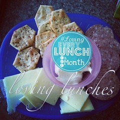 Loving a snack for #lovingeverylunchforamonth … wasn't sure if we'd make it home for lunch today so miss M had a large smoko as requested of bikkies and dip and pepperoni and cheese :) #lovingeverylunchforamonth