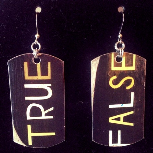 true false earrings etsy seller amandalynnchainmail