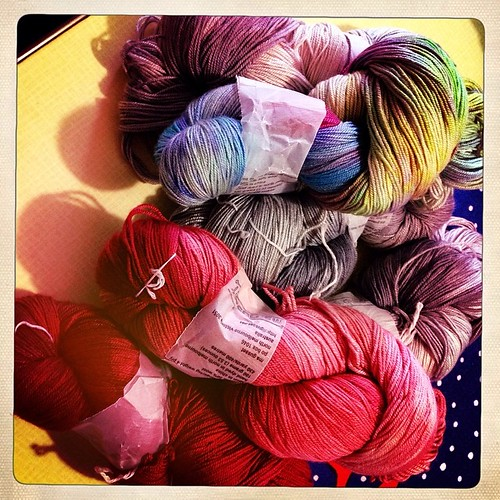 "Delicious, delicious yarn arrived yesterday from the gorgeous @msgusset !!! Thank you my dear! It includes ""you're killing me!"" Red!!!! #yarnnerd"