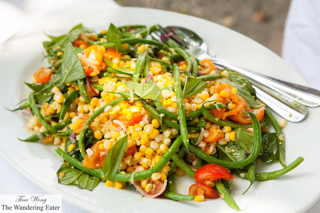 French beans, sweet corn and basil salad with cherry tomato vinaigrette