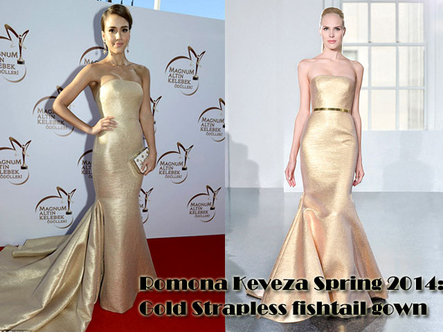 Romona-Keveza-Spring-2014-Gold-Strapless-fishtail-gown, metallic gown, gold metallic gown,  gold metallic strapless gown, Strapless gown, orm-fitting sparkling gown, Romona Keveza, Romona Keveza dress, gold drop earrings, gold fishtail gown